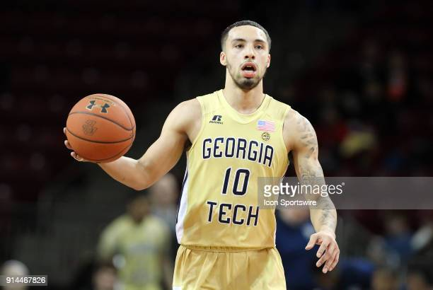 Georgia Tech Yellow Jackets guard Jose Alvarado dribbles the ball up court during a college basketball game between Georgia Tech Yellow Jackets and...
