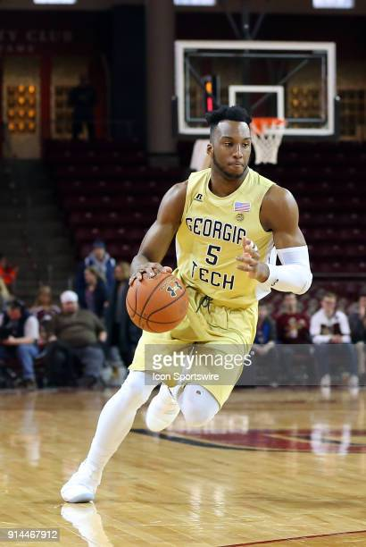 Georgia Tech Yellow Jackets guard Josh Okogie drives to the basket during a college basketball game between Georgia Tech Yellow Jackets and Boston...