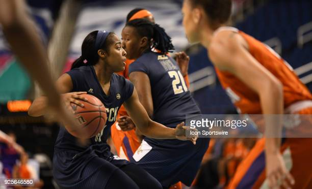Georgia Tech Yellow Jackets guard Kierra Fletcher dribbles through traffic during the ACC women's tournament game between the Clemson Tigers and...
