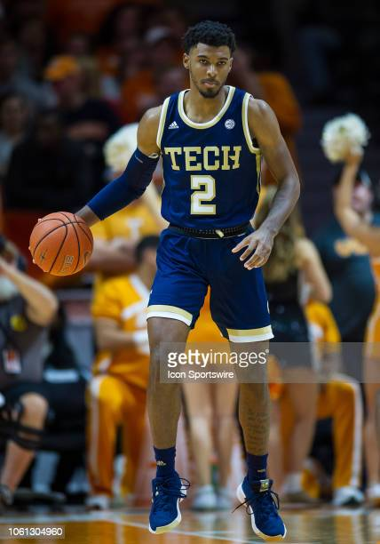 Georgia Tech Yellow Jackets guard Shembari Phillips brings the ball up court during a college basketball game between the Tennessee Volunteers and...