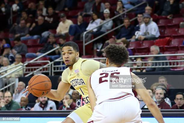 Georgia Tech Yellow Jackets guard Tadric Jackson defended by Boston College Eagles guard Jordan Chatman during a college basketball game between...