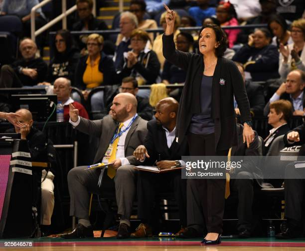 Georgia Tech Yellow Jackets head coach MaChelle Joseph calls out instructions to her team during the ACC women's tournament game between the Clemson...