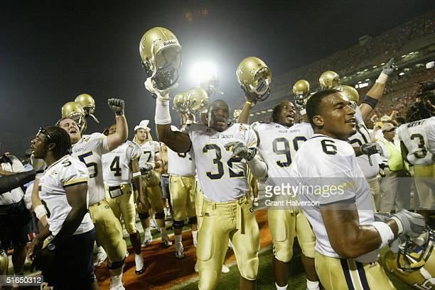 Georgia Tech Yellow Jackets including Nate Curry Johnathan Jackson and Pat Clark celebrate after their Atlantic Coast Conference game against the...