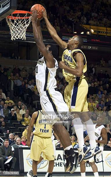 Georgia Tech's Anthony McHenry gets his hand on the ball as Wake Forest's Eric Williams tries to slam it home during first half action at the LJVM...