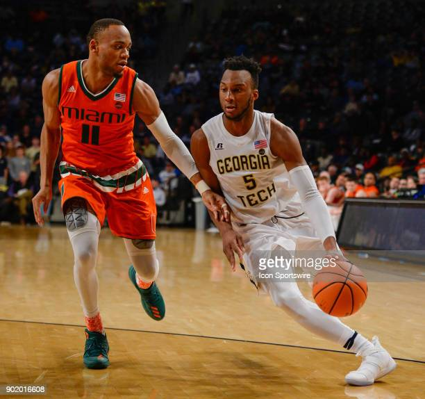 Georgia Tech's Josh Okogie drives to the basket against Miami's Bruce Brown Jr during a game between Miami and Georgia Tech on January 3 2018 at Hank...
