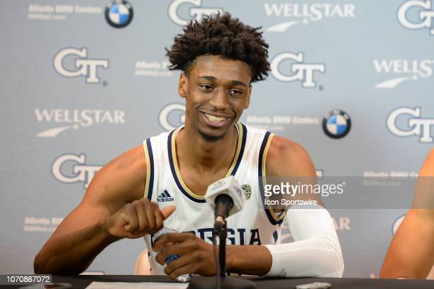 Georgia Tech's Khalid Moore answers questions during the postgame press conference following the conclusion of the game between Florida AM and...