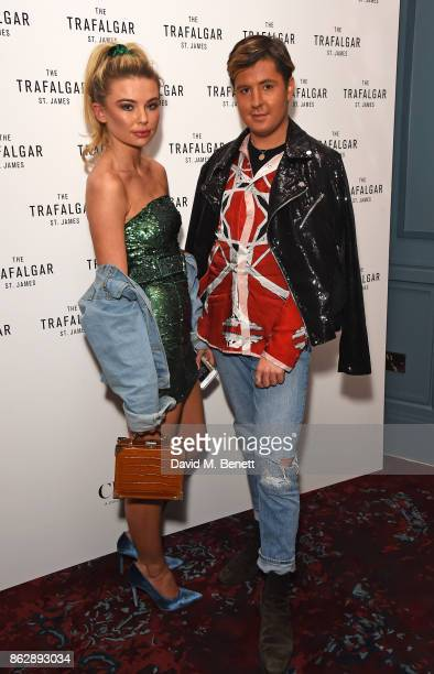 Georgia Toffolo and Valentine Sozbilir attend the launch of The Trafalgar St James in the hotel's spectacular new bar The Rooftop on October 18 2017...