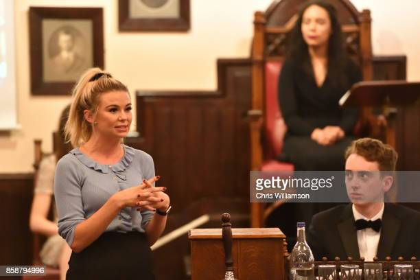 Georgia Toffolo from 'Made in Chelsea' takes part in the 'This House Would Rather Be On Reality TV' debate at The Cambridge Union on October 7 2017...