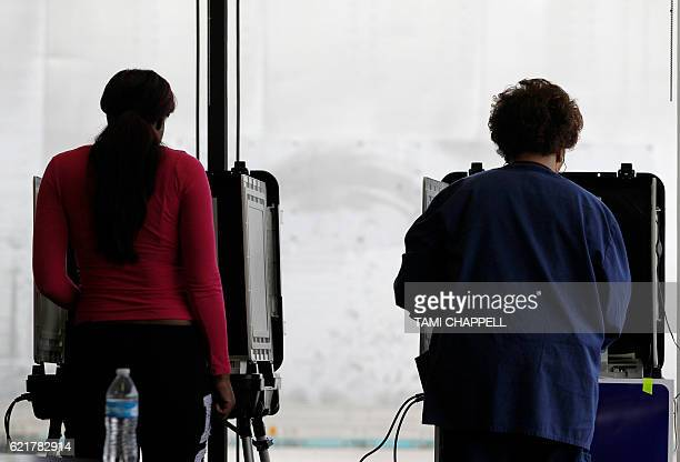 Georgia voters at a voting machine during the US presidential election at the AthensClarke County Fleet building in Athens Georgia on November 8 2016...
