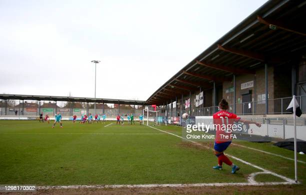Georgia Walters of Blackburn Rovers takes a corner during the Barclays FA Women's Championship match between London City Lionesses and Blackburn...