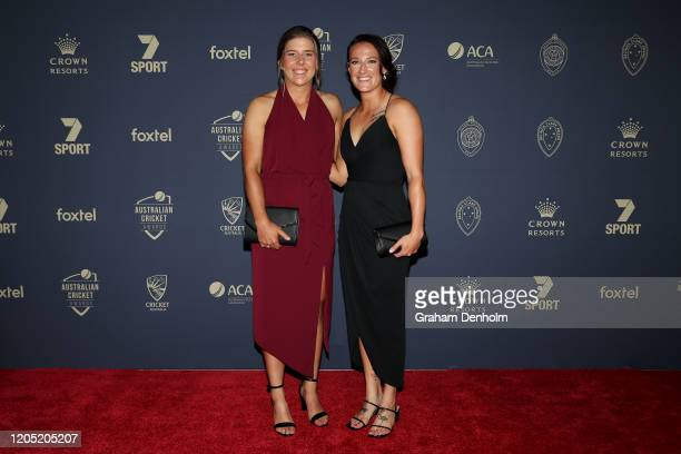 Georgia Wareham and Megan Schutt arrive ahead of the 2020 Cricket Australia Awards at Crown Palladium on February 10 2020 in Melbourne Australia