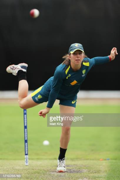 Georgia Wareham of Australia bowls during an Australian Nets Session at Sydney Cricket Ground on March 04, 2020 in Sydney, Australia.