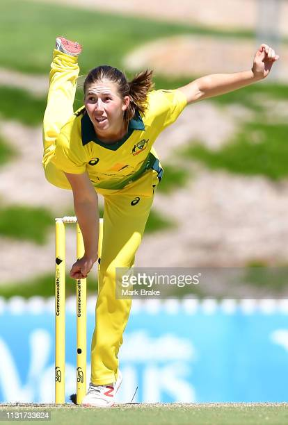 Georgia Wareham of Australia bowls during game two of the One Day International Series between Australia and New Zealand at Karen Rolton Oval on...