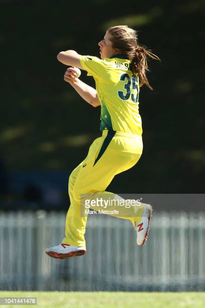 Georgia Wareham of Australia bowls during the International Twenty20 warm up match between Australia and the CAXI at Manly Oval on September 27 2018...