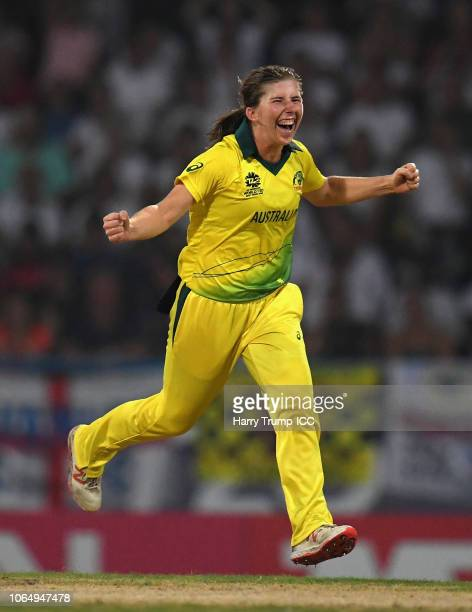 Georgia Wareham of Australia celebrates after dismissing Sophia Dunkley of England during the ICC Women's World T20 2018 Final between Australia and...