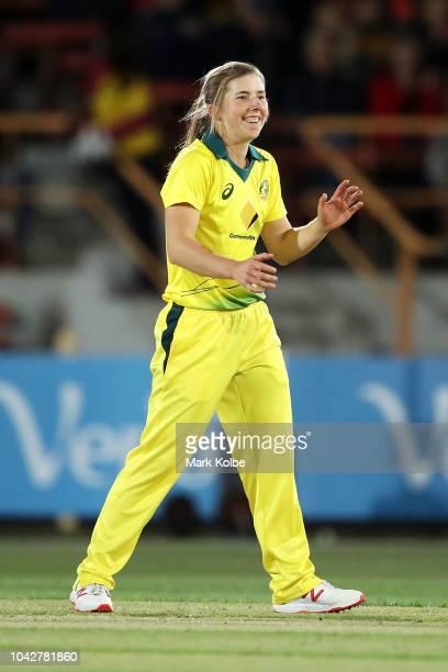 Georgia Wareham of Australia celebrates taking the wicket of Jess Watkin of New Zealand during game one of the International Twenty20 series between...