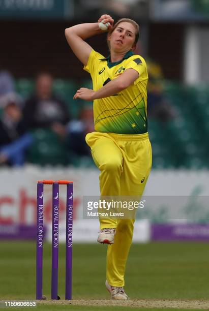 Georgia Wareham of Australia in action during the 1st Royal London Women's ODI between England and Australia at Fischer County Ground on July 02 2019...