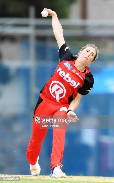 Georgia Wareham of the Melbourne Renegades during the Women's Big Bash League match between the Adelaide Strikers and the Melbourne Renegades at...