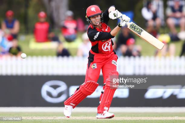 Georgia Wareham of the Renegades bats during the Women's Big Bash League match between the Melbourne Renegades and the Sydney Thunder at the...