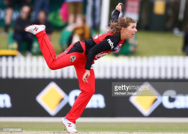Georgia Wareham of the Renegades bowls during the Women's Big Bash League match between the Melbourne Renegades and the Sydney Thunder at the...