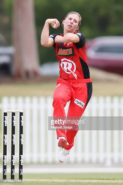Georgia Wareham of the Renegades bowls during the Women's Big Bash League match between the Melbourne Renegades and the Adelaide Strikers at...