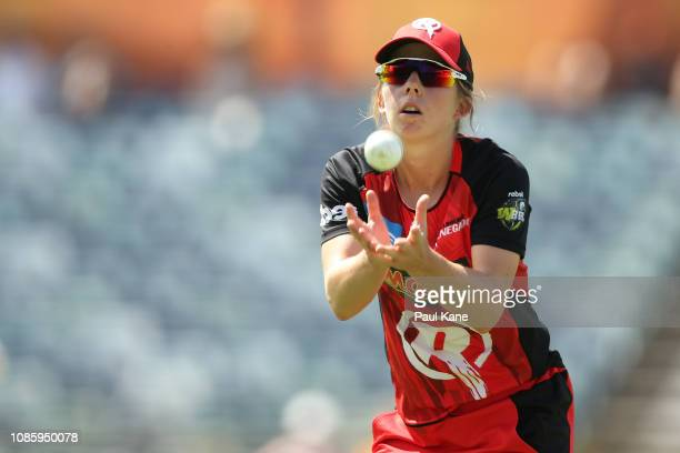 Georgia Wareham of the Renegades catches a return throw from the boundary during the Women's Big Bash League match between the Perth Scorchers and...