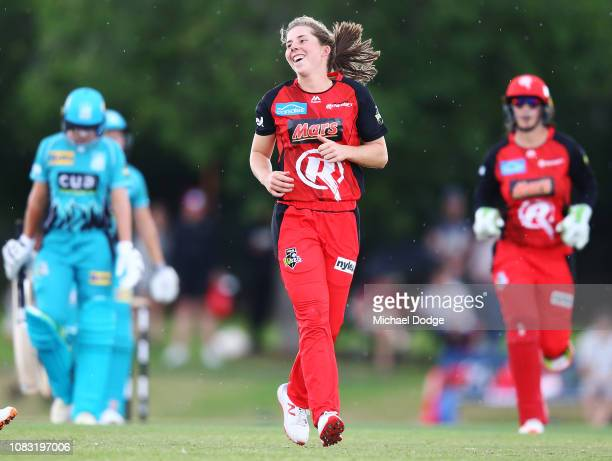 Georgia Wareham of the Renegades celebrates a wicket during the Women's Big Bash League match between the Melbourne Renegades and the Brisbane Heat...
