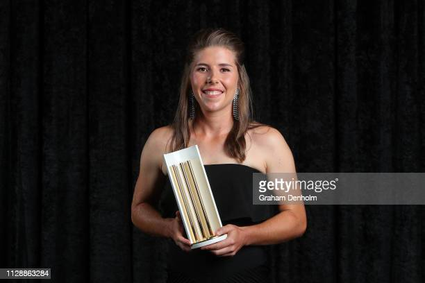 Georgia Wareham poses with the Betty Wilson Young Cricketer of the Year award during the 2019 Australian Cricket Awards at Crown Palladium on...