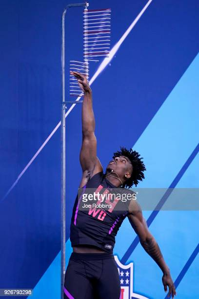Georgia wide receiver Javon Wims competes in the vertical jump during the NFL Combine at Lucas Oil Stadium on March 3, 2018 in Indianapolis, Indiana.