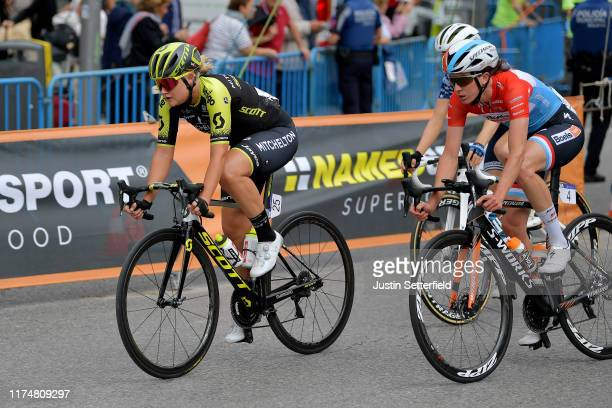 Georgia Williams of New Zealand and Team Mitchelton Scott / Christine Majerus of The Luxembourg and Boels Dolmans Cycling Team / during the WNT...
