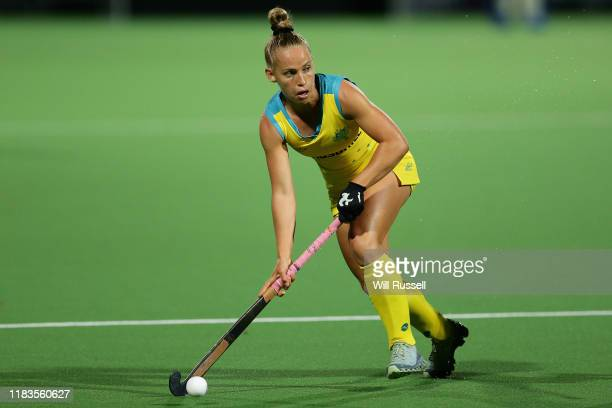 Georgia Wilson of the Hockeyroos looks to pass the ball during the FIH Hockey Olympic Qualifiers match between the Australian Hockeyroos and Russia...