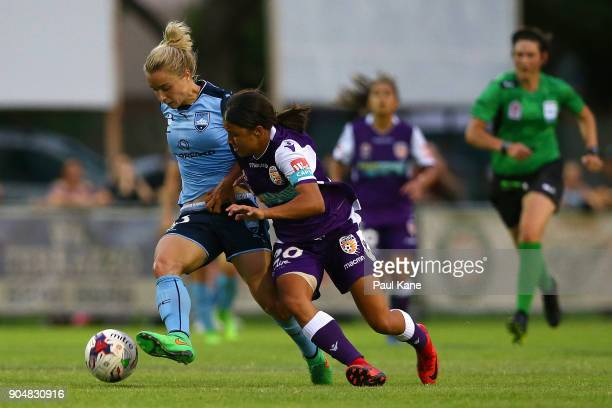 Georgia YeomanDale of Sydney and Samantha Kerr of the Perth Glory contest for the ball during the round 11 WLeague match between the Perth Glory and...