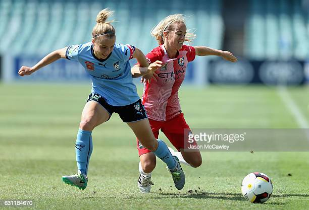 Georgia YeomanDale of Sydney is challenged by Aivi Luik of Melbourne City during the round 11 WLeague match between Sydney FC and Melbourne City FC...