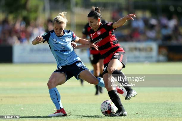 Georgia YeomanDale of Sydney is challenged by Talitha Kramer of the Wanderers during the round 14 WLeague match between Sydney FC and the Western...