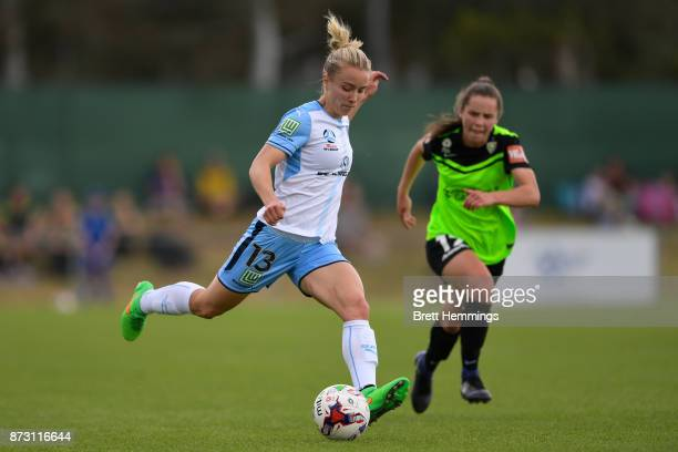 Georgia YeomanDale of Sydney passes the ball during the round three WLeague match between Canberra United and Sydney FC at McKellar Park on November...