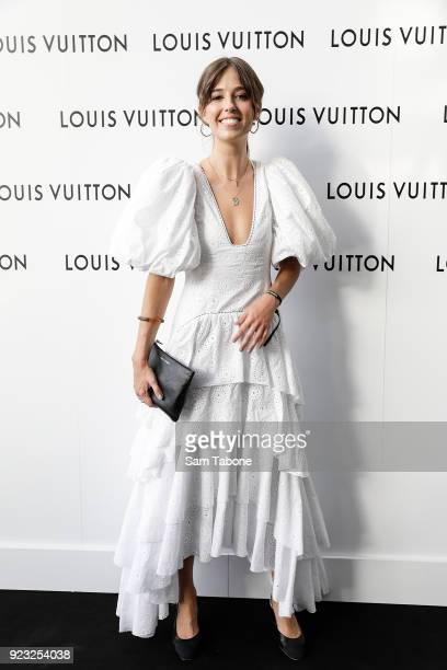 Georgia Zogopoulos arrives at the Louis Vuitton Time Capsule exhibition at Chadstone Shopping Centre on February 23 2018 in Melbourne Australia