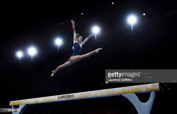 Georgia-Mae Fenton of Great Britain performs on Balance Beam during the Women's Team Finals on Day 5 of FIG Artistic Gymnastics World Championships...