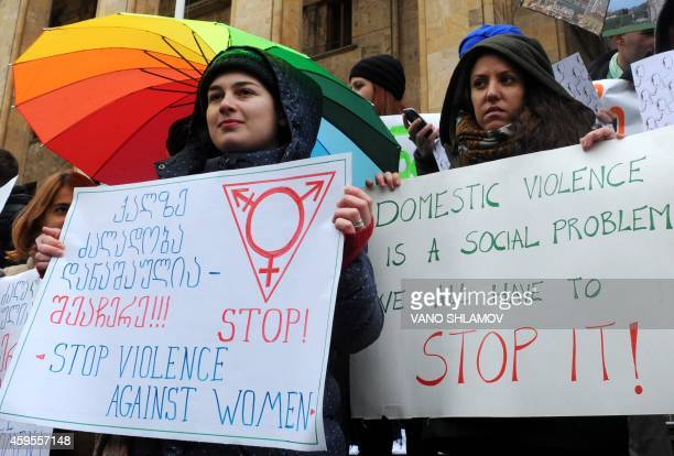 Georgian activists protest against domestic violence in central Tbilisi on November 25 2014 Acording to date released by the Georgian department of...