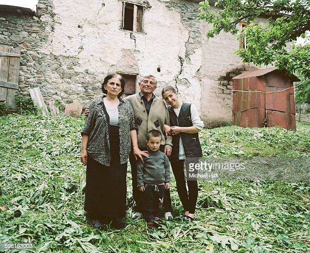 georgian family in backyard - コーカサス ストックフォトと画像