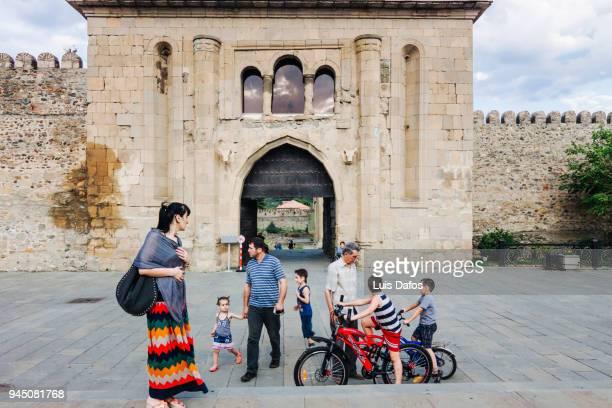 Georgian family outside Svetitskhoveli Cathedral