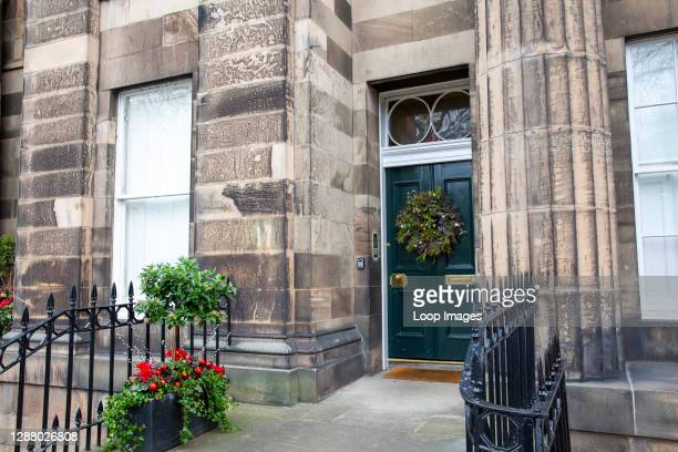 Georgian home in Edinburgh displaying Christmas wreath.