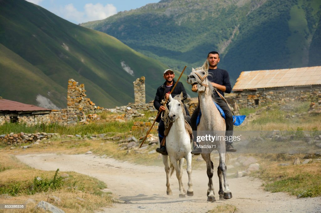 Georgian horsemen : Stock Photo