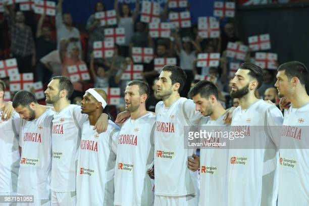Georgian national team stands for the national anthem during the FIBA Basketball World Cup Qualifier match between Georgia and Serbia at Tbilisi...
