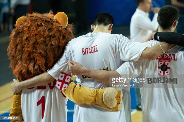 Georgian national team stands for the national anthem with their mascot during the FIBA Basketball World Cup Qualifier match between Georgia and...