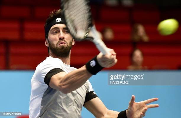 Georgian Nikoloz Basilashvili returns the ball to South African Kevin Anderson during the ATP Tennis Tournament in Vienna Austria on October 22 2018...