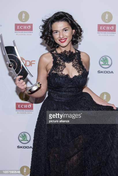 Georgian pianist Khatia Buniatishvili poses with her award at the Echo Klassik 2016 classical music award ceremony in BerlinGermany 09 October 2016...
