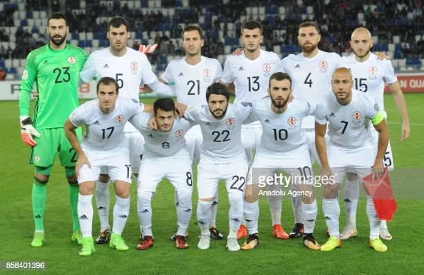 Georgian players pose for a team photo ahead of the FIFA 2018 World Cup Qualifier between Georgia and Wales at Boris Paichadze Dinamo Arena Tbilisi...