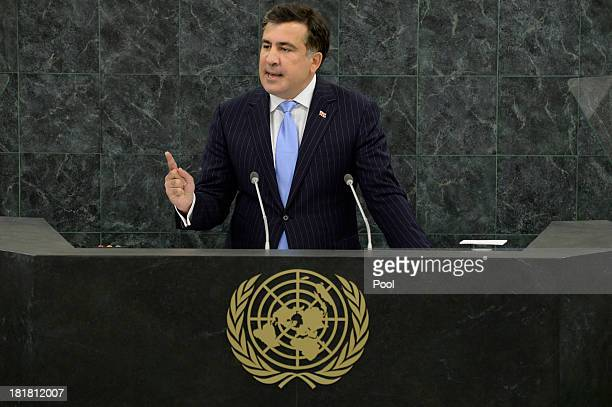 Georgian President Mikheil Saakashvili addresses the 68th session of the General Assembly at United Nations headquarters on September 25 2013 in New...
