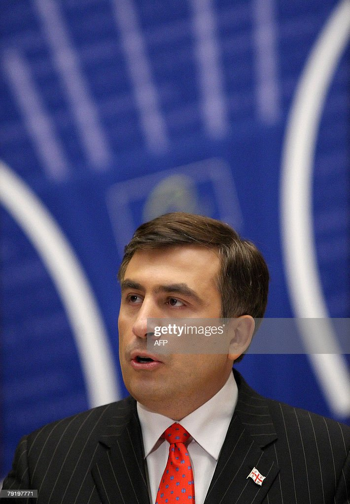 Georgian President Mikheil Saakashvili addresses the parliamentary assembly of the Council of Europe 24 January 2008, in the northeastern French city of Strasbourg. Saakashvili was inaugurated 20 January 2008 as President of Georgia for a second term after winning a hotly disputed January 5 election.