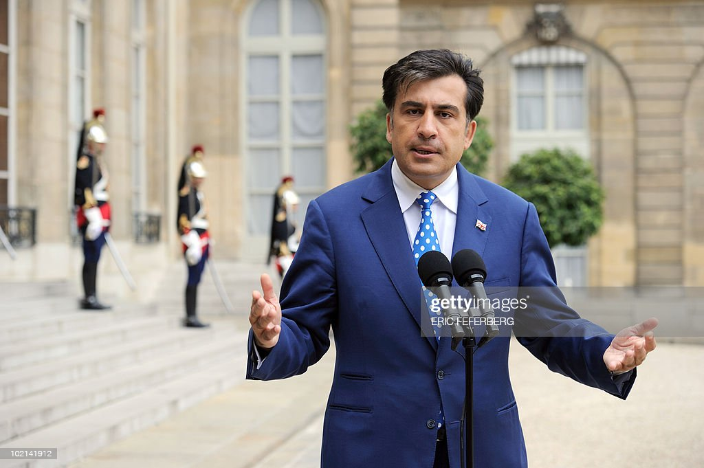 Georgian President Mikheil Saakashvili answers to journalists after his meeting with French President Nicolas Sarkozy on June 8, 2010 at the Elysee Palace in Paris.